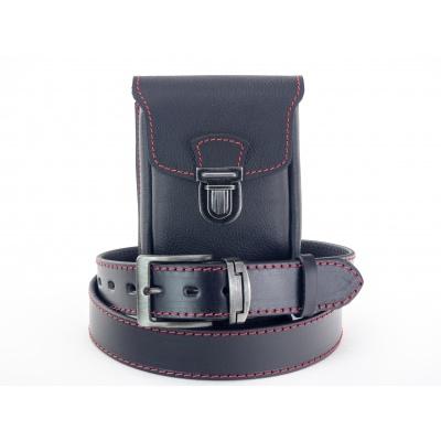 Zvýhodněný set K 9-ččv, kožená kapsa + kožený opasek