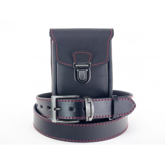 Zvýhodněný set K 9 ččv,  kožená kapsa + kožený opasek, červené obšití