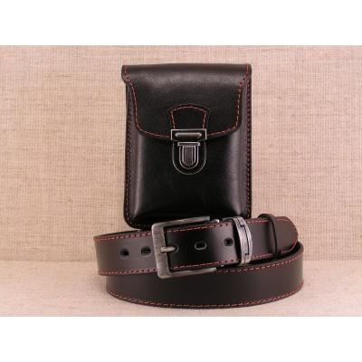 Komplet kožený opasek s kapsou ,barva černá