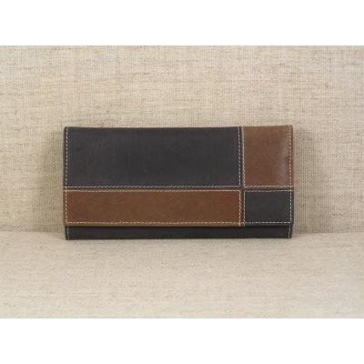 Dámská kožená peněženka 3101 černo hnědá
