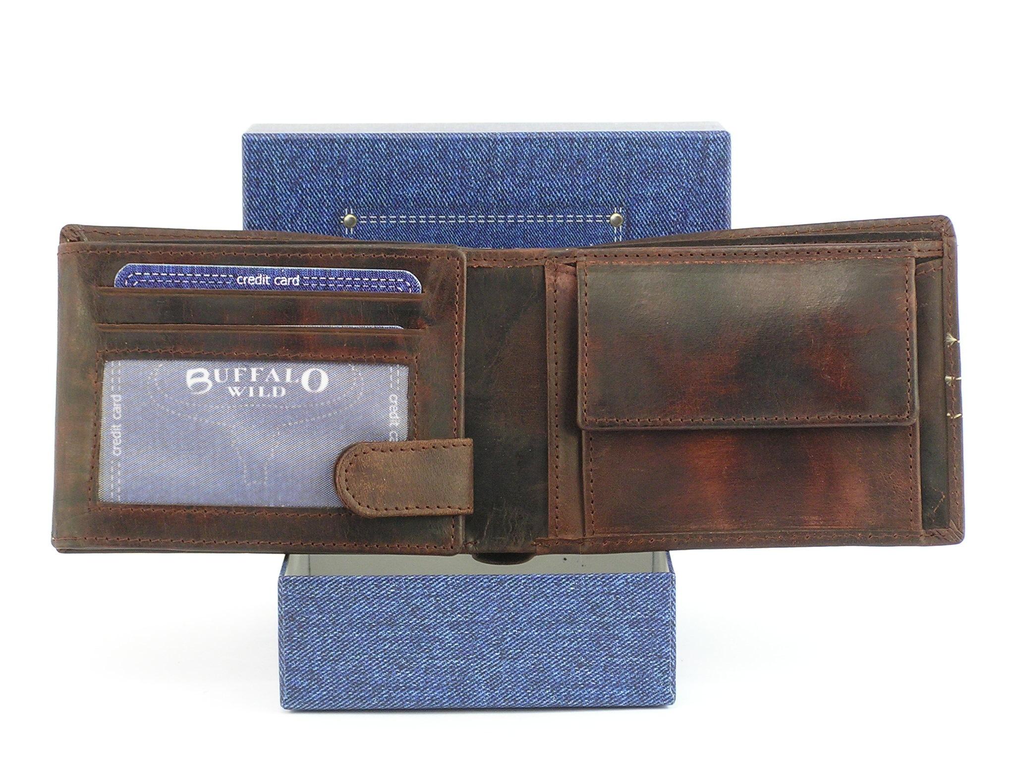 b6c9e1102171d Pánská kožená peněženka Buffalo Wild - hnědá - Greisi