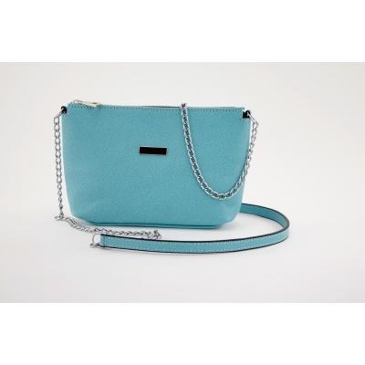 Dámská kožená kabelka světle modrá