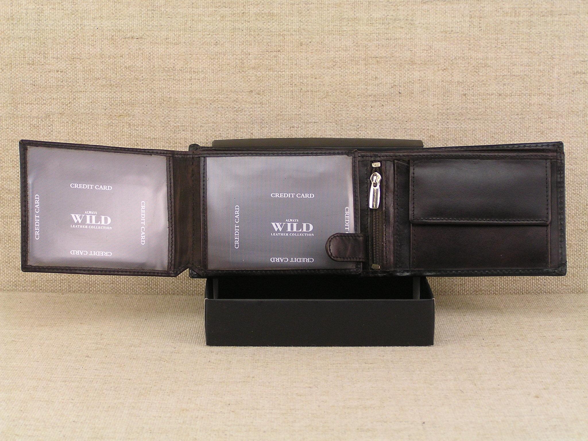 aca58b2d5cdd5 Pánská kožená peněženka Always Wild N992 - SEL černo hnědá - Greisi