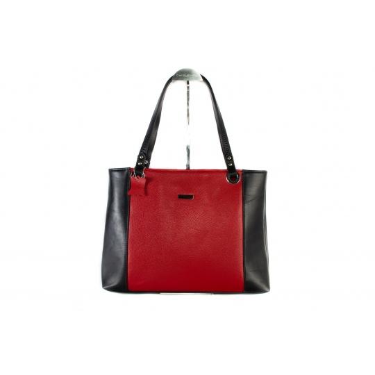 Kožená kabelka Greisi Safiano Nero Rosso